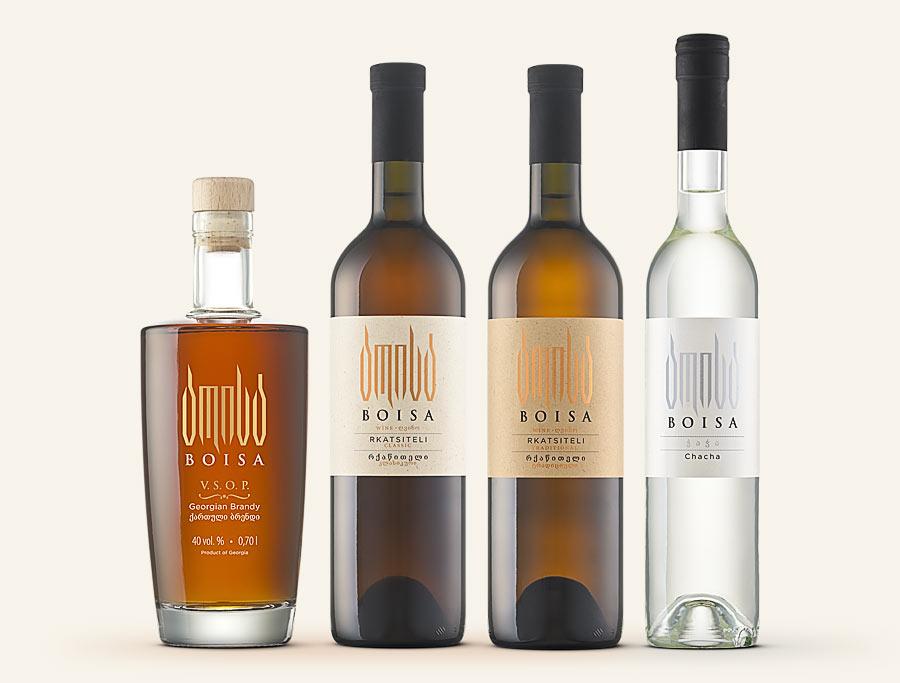 Boisa - Gerogian VSOP brandy and chacha (pomace brandy). Rkatsiteli and Saperavi wine traditionally produced in Qvevri